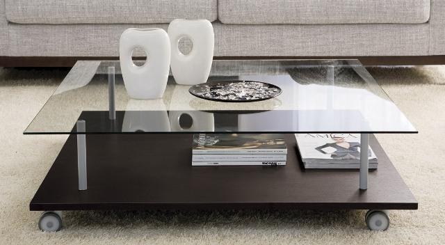 Tavolini Da Salotto In Cristallo Con Ruote.717004 Smoke 2 Tavolino Quadrato Su Ruote Vetro Temperato 8 Mm Made In Italy